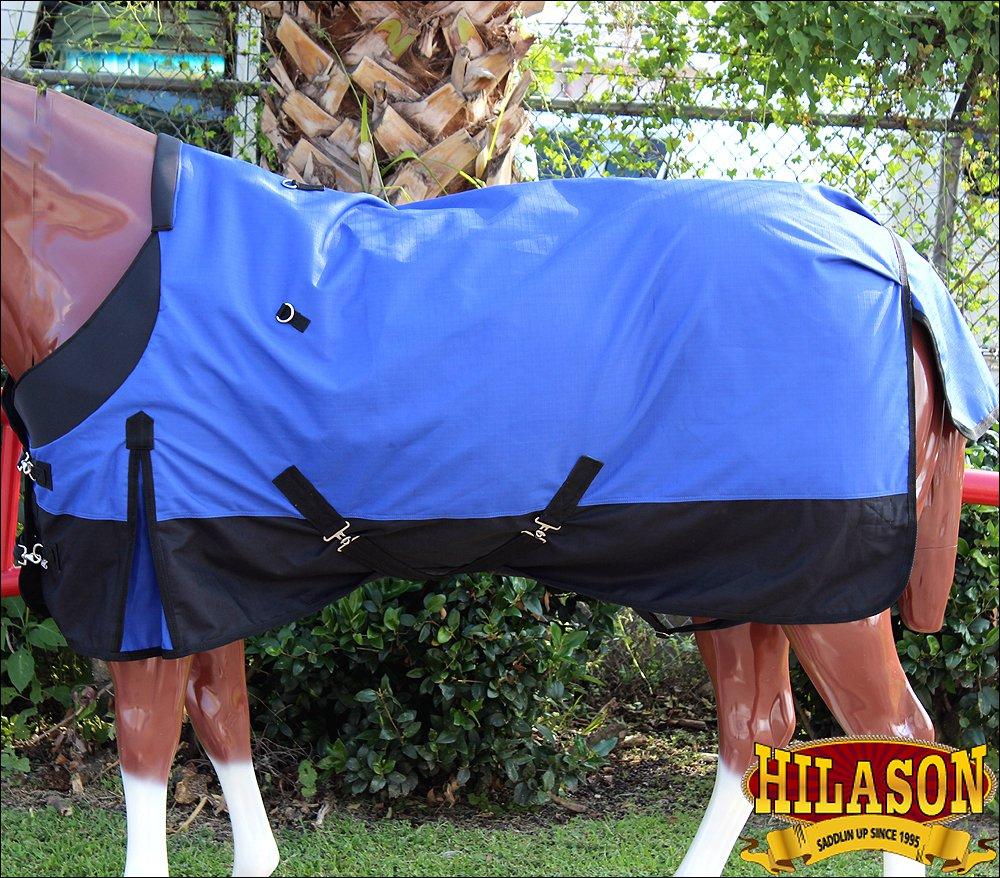 HILASON 600D RIPSTOP WATERPROOF POLY TURNOUT HORSE WINTER SHEET BLUE BLACK
