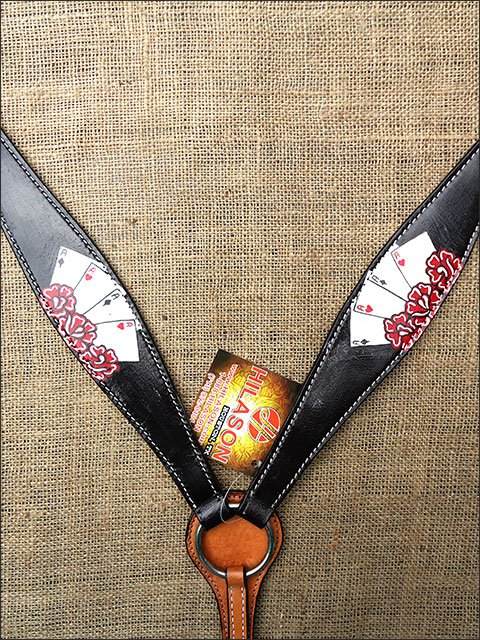 HILASON WESTERN LEATHER BREAST COLLAR BLACK HAND PAINT CARDS