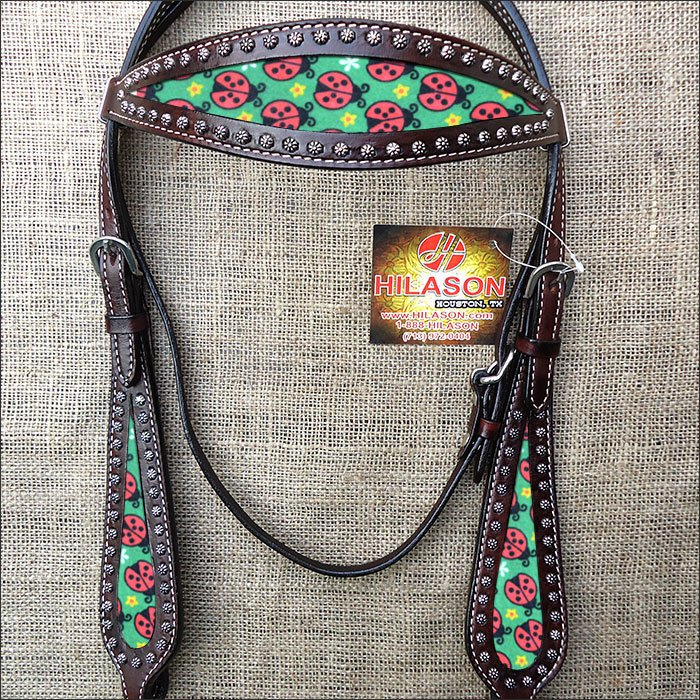 HILASON WESTERN LEATHER HORSE BRIDLE HEADSTALL DARK BROWN W/ LADY BIRD INLAY