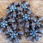 SET OF 2 CRYSTAL RHINESTONE BLING CONCHOS FLORAL DESIGN ANTIQUE COPPER FINISH