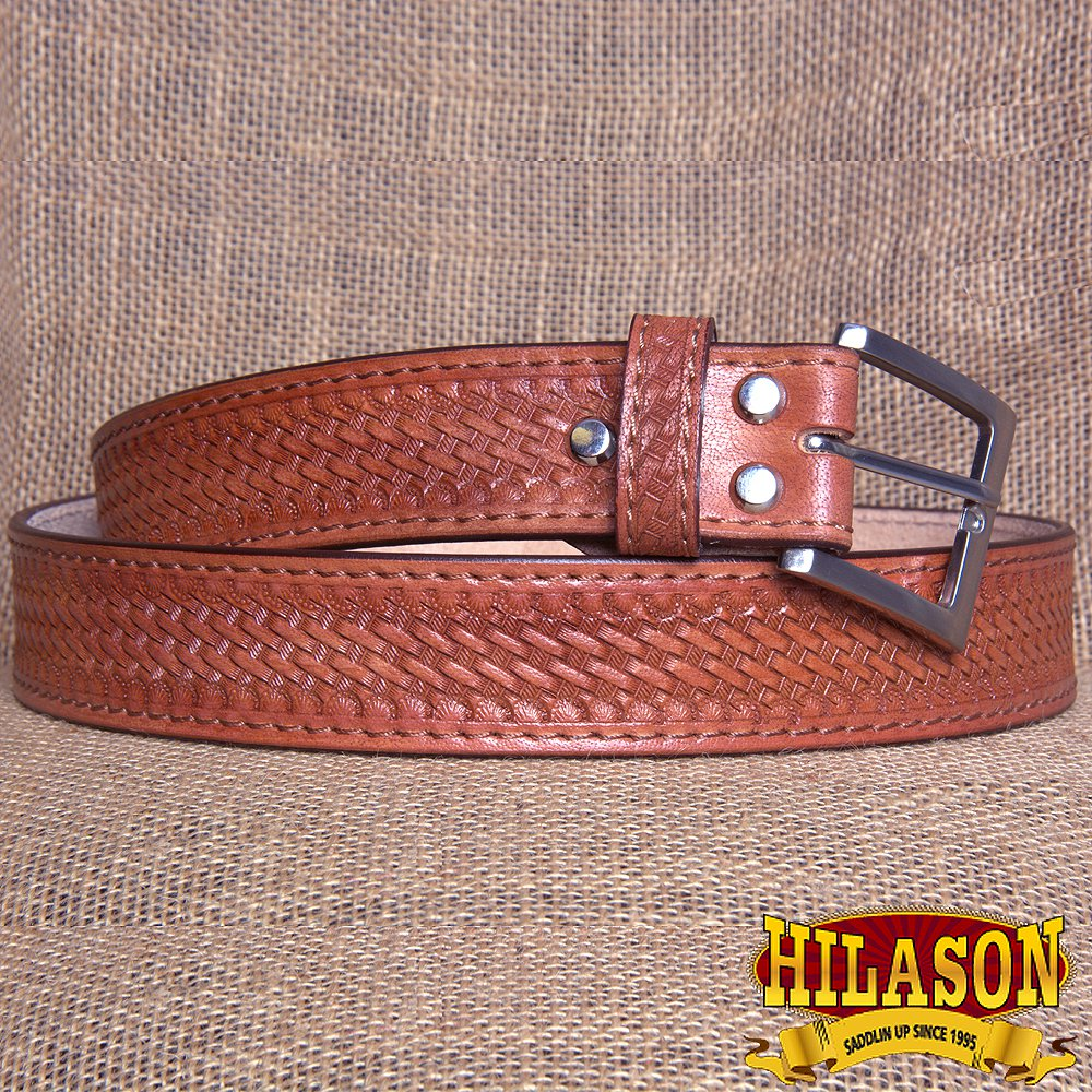 GM201M-F HILASON HAND MADE HEAVY DUTY BUFFALO HIDE LEATHER STICHED BELT 36""