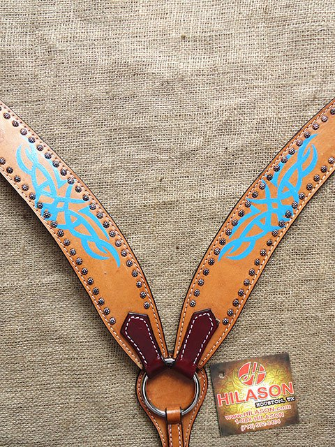 S544 NEW HILASON WESTERN LEATHER HORSE BREAST COLLAR TAN W/ TURQUOISE HAND PAINT