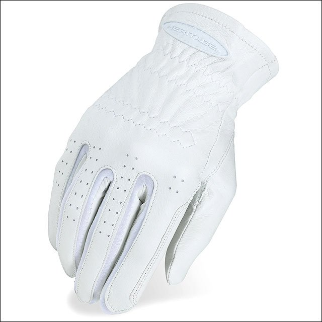 HERITAGE LEATHER PRO-FIT SHOW HORSE RIDING EQUESTRIAN GLOVE WHITE