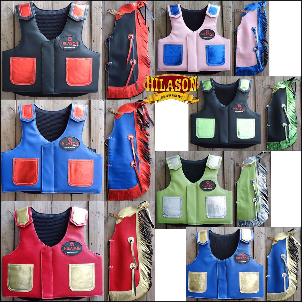 HILASON KIDS JUNIOR YOUTH BULL RIDING PRO RODEO LEATHER PROTECTIVE VEST CHAPS
