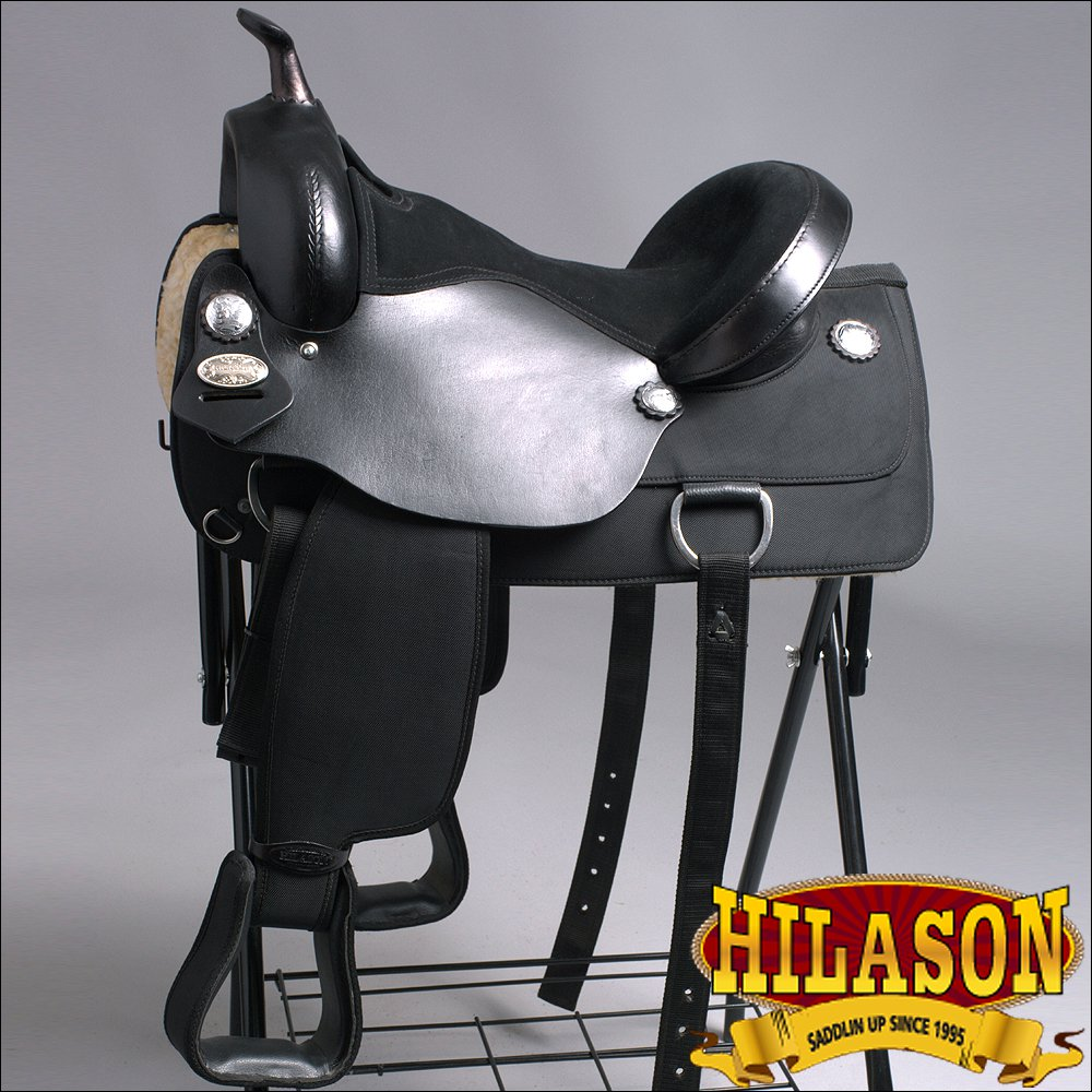 TT114-F HILASON WESTERN CORDURA FLEX-TREE TRAIL PLEASURE RIDING SADDLE BLACK 16""