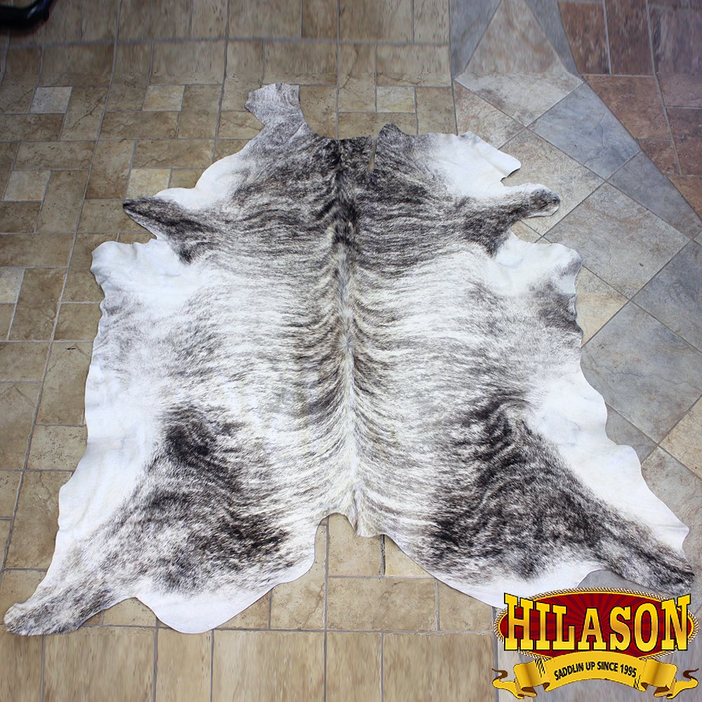 HS1163-F HILASON HAIR ON LEATHER PURE BRAZILIAN COWHIDE SKIN RUG CARPET NATURAL