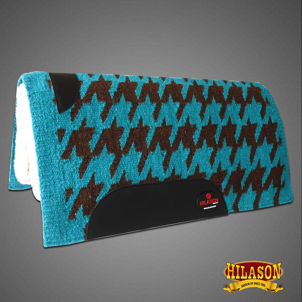MADE IN USA F230 HILASON WESTERN WOOL FELT SADDLE BLANKET PAD TURQUOISE BROWN