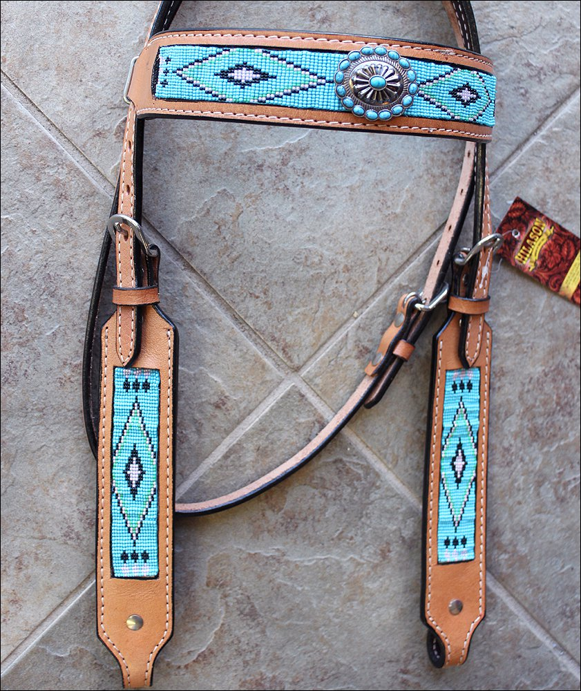 HILASON WESTERN LEATHER HORSE BRIDLE HEADSTALL TURQUOISE BEADED INLAY W/ CONCHO
