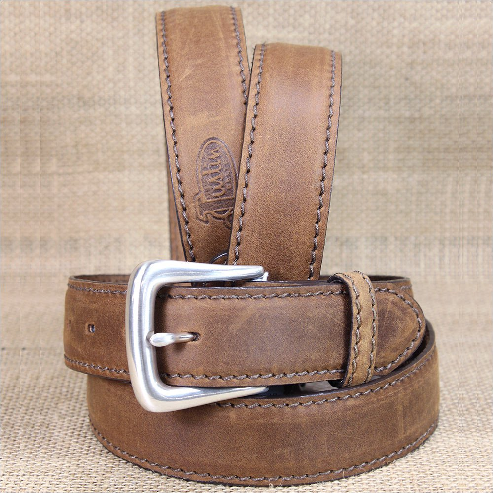 "32"" JUSTIN BROWN WORKING SPORT LEATHER MEN BELT SQUARE BUCKLE 1-3/8"" Wide"