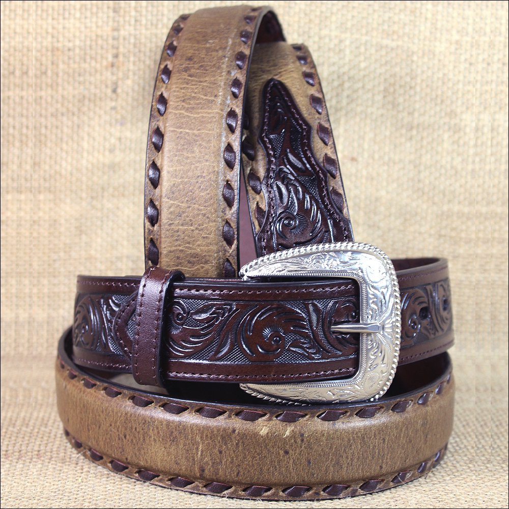 "38x1 1/2"" 3D DARK BROWN MENS WESTERN FASHION LEATHER BELT REMOVABLE BUCKLE"