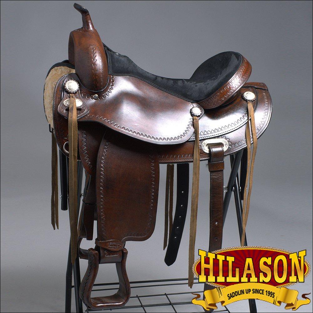 TO08ADB-F HILASON TREELESS WESTERN LEATHER TRAIL PLEASURE HORSE RIDING SADDLE 18