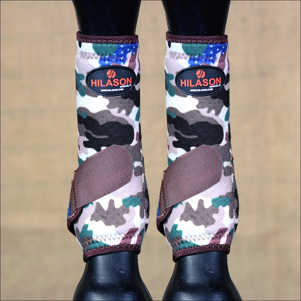 LARGE HILASON CAMO HORSE REAR LEG PROTECTION ULTIMATE SPORTS BOOTS PAIR