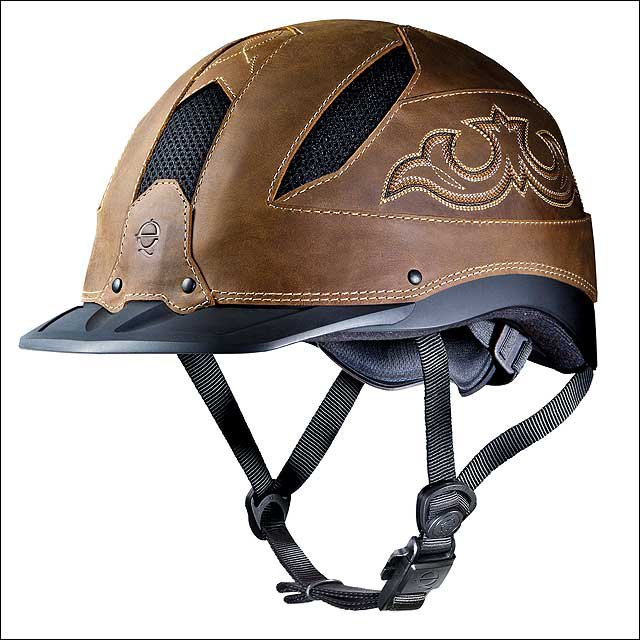 SMALL TROXEL LOW PROFILE  CHENYENNE BROWN LEATHER WESTERN RIDING HELMET