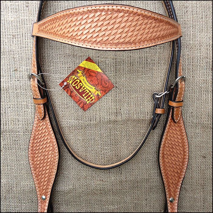 V1 HILASON WESTERN HAND TOOLED LEATHER HORSE BRIDLE HEADSTALL - TAN