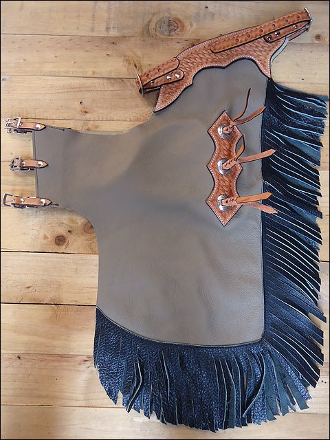 F806 HILASON YOUTH CHILD PRO RODEO BRONC BULL-RIDING SMOOTH LEATHER CHINKS CHAPS