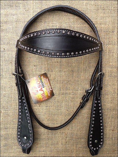 S464 HILASON WESTERN LEATHER HORSE BRIDLE HEADSTALL - BLACK