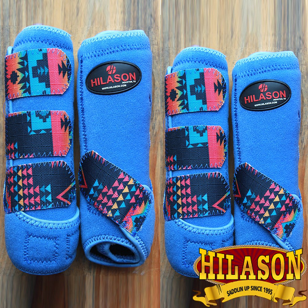 LARGE HILASON AZTEC BLUE HORSE FRONT REAR LEG PROTECTION SPORTS BOOT 4 PACK