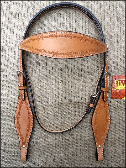 S321 HILASON WESTERN HAND TOOL BARB WIRE LEATHER HORSE BRIDLE HEADSTALL TAN