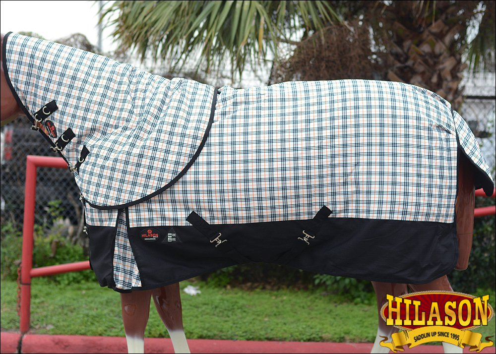 """78"""" HILASON 1200D WATERPROOF POLY TURNOUT HORSE BLANKET NECK COVER OFF WHITE"""