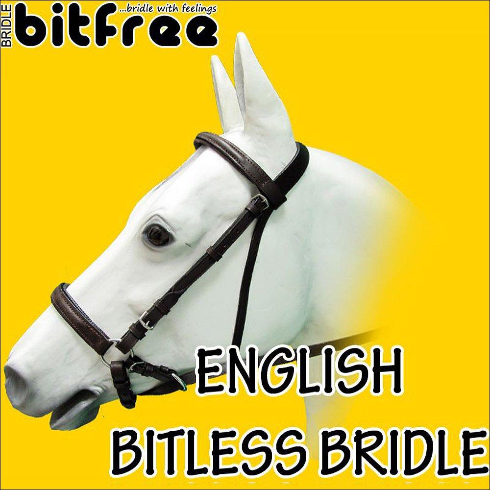 BB231-F HILASON ENGLISH BITLESS BITFREE BRIDLE EXTREMELY COMFORTABLE DRAFT SIZE