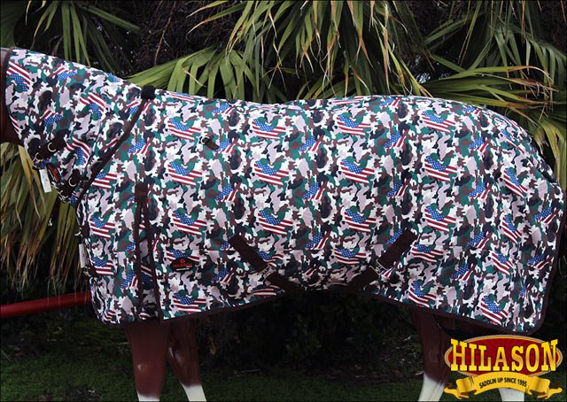 """75"""" HILASON 1200D WATERPROOF TURNOUT HORSE BLANKET NECK COVER USA CAMOUFLAGE"""