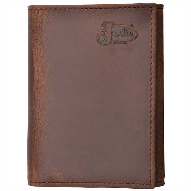 JUSTIN BROWN TAN DISTRESSED LEATHER BASIC TRIFOLD MENS WALLET W/ 6 CARD SLOTS