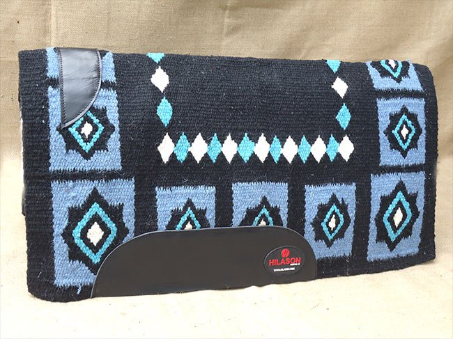 FEP297 HILASON WESTERN NEW ZEALAND WOOL HORSE SADDLE BLANKET BLACK BLUE WHITE