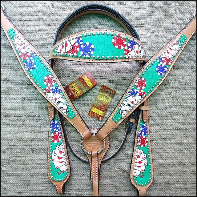 HILASON WESTERN LEATHER HORSE HEADSTALL BREAST COLLAR HAND PAINT CARDS GREEN