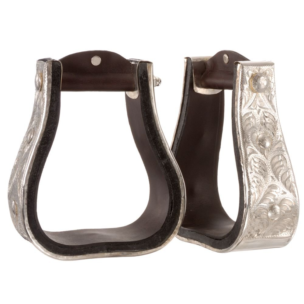 TOUGH 1 ROYAL KING SILVER ENGRAVED ADULT BELL HORSE STIRRUPS PAIR DARK OIL