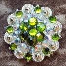 PERIDOT GREEN AB CRYSTALS BERRY CONCHO RHINESTONE HEADSTALL SADDLE TACK BLING