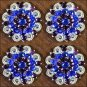 CN06 SET OF 4 BLUE PURPLE CRYSTALS 1-1/49in. BERRY CONCHO RHINESTONE SADDLE TACK