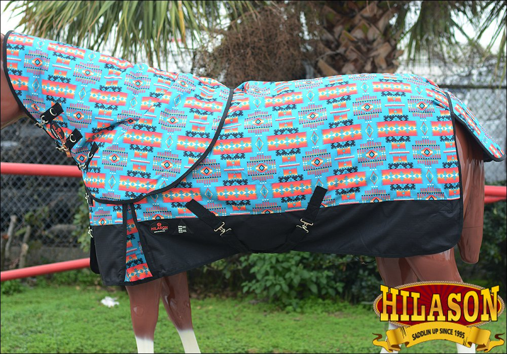 "84"" HILASON 1200D WATERPROOF POLY TURNOUT HORSE BLANKET NECK COVER AZTEC TRIBAL"
