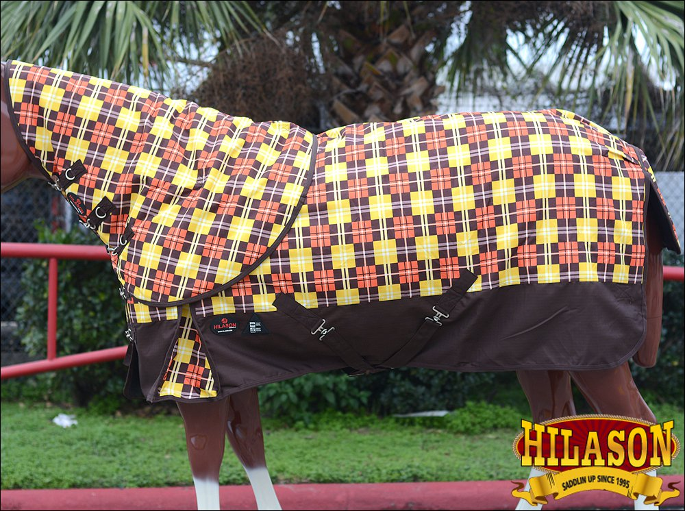 """84"""" HILASON 1200D WATERPROOF POLY TURNOUT HORSE BLANKET NECK COVER BROWN YELLOW"""