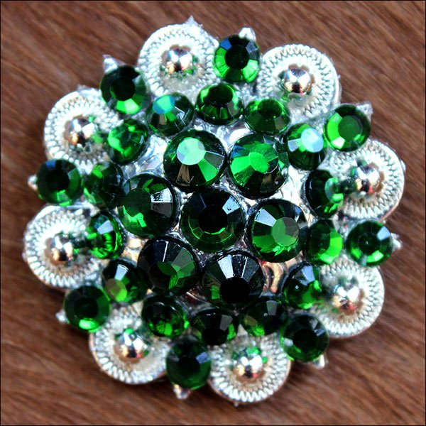 CN33 SET OF 4 GREEN CRYSTAL 1-1/4in BERRY CONCHO RHINESTONE TACK SADDLE COWGIRL