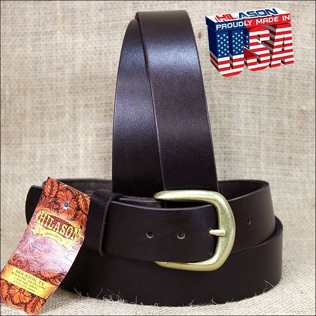 46IN. BROWN 1.5in CASUAL PLAIN STRAP LEATHER BELT MADE IN USA