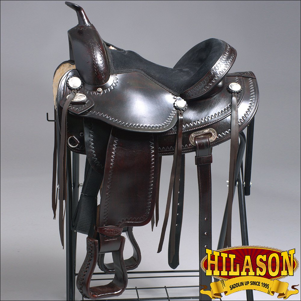 TO108DB-F HILASON TREELESS WESTERN LEATHER TRAIL PLEASURE HORSE RIDING SADDLE 15