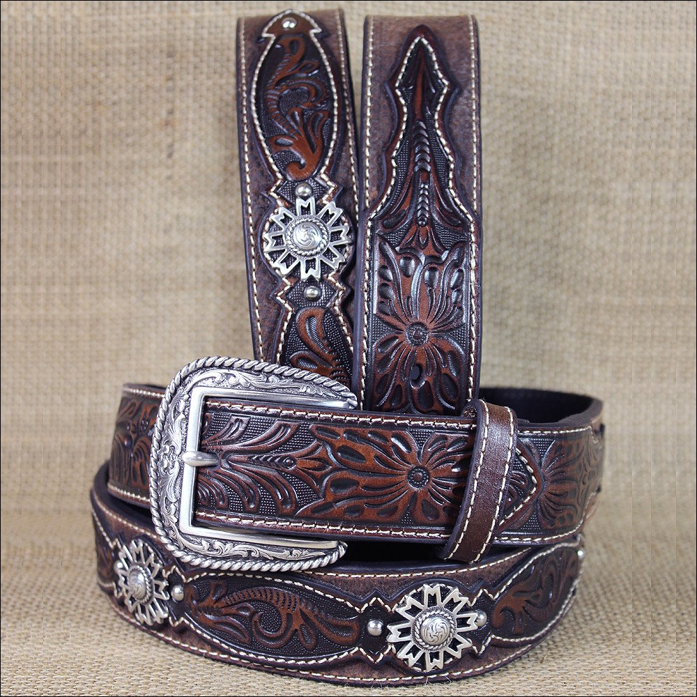 36 INCH WESTERN ARIAT LEATHER MENS BELT ROWEL BROWN OILED ROWDY