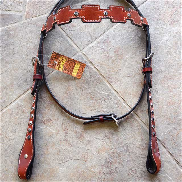 NEW HILASON LEATHER HORSE BRIDLE HEADSTALL WESTERN TACK MAHOGANY