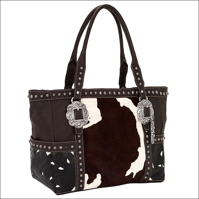 AMERICAN WEST LEATHER CARRY ON TOTE LADIES WOMENS SHOULDER HANDBAG PURSE COWHIDE