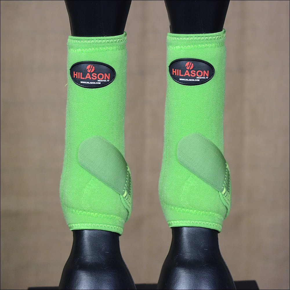 MEDIUM HILASON LIME GREEN HORSE FRONT LEG PROTECTION ULTIMATE  SPORTS BOOT PAIR