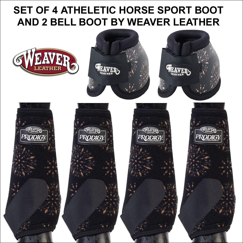 MEDIUM BLACK MEDALLION ATHLETIC HORSE FRONT REAR LEG NO TURN BELL BOOTS WEAVER