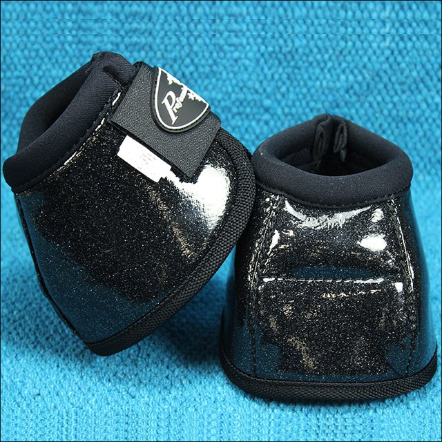 GLITTER BLACK LARGE PROFESSIONAL CHOICE SECURE FIT OVERREACH HORSE BELL BOOTS