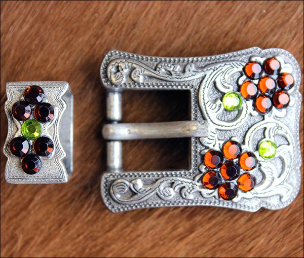 SET OF 32 PERIDOT TOPAZ CRYSTALS ANTIQUE SILVER FINISH BUCKLE SET BELT HEADSTALL