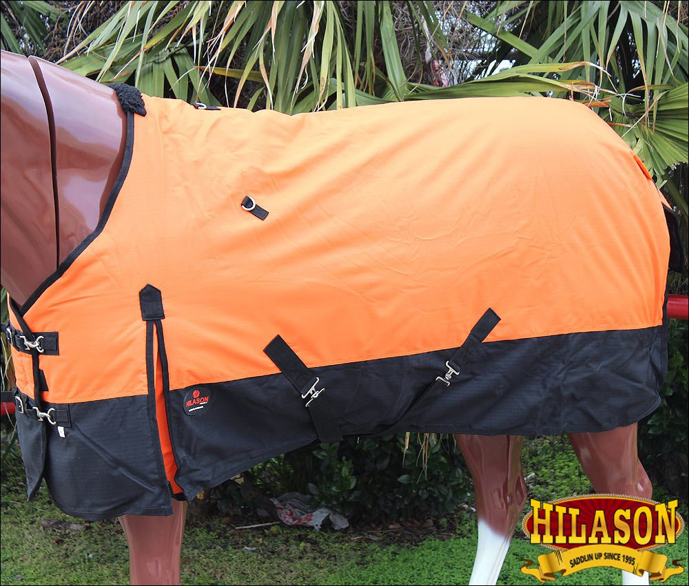 "68"" HILASON 600D WINTER WATERPROOF POLY TURNOUT HORSE BLANKET ORANGE BLACK"