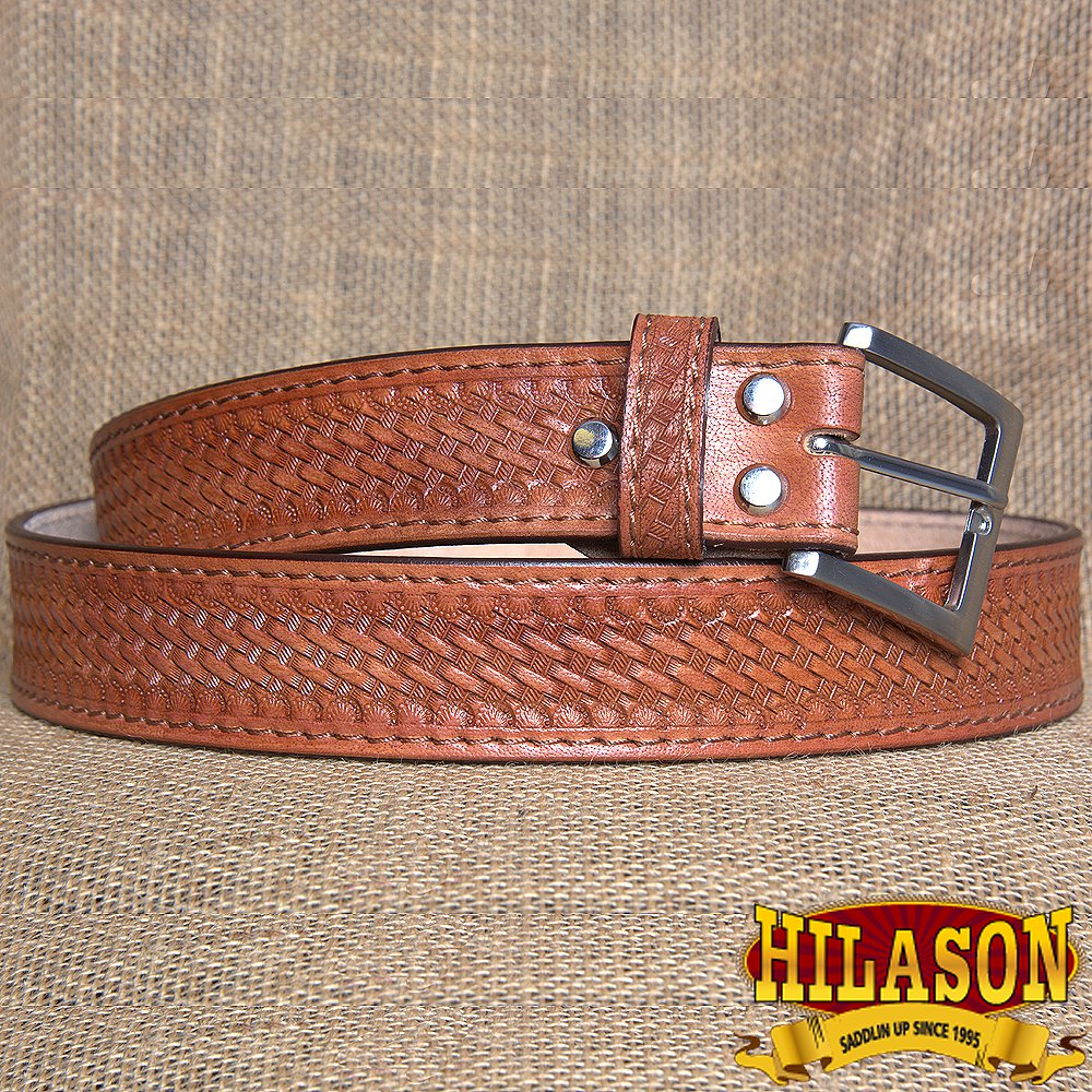 GM201MRED-F HILASON HAND MADE HEAVY DUTY BUFFALO HIDE LEATHER STICHED BELT 44""