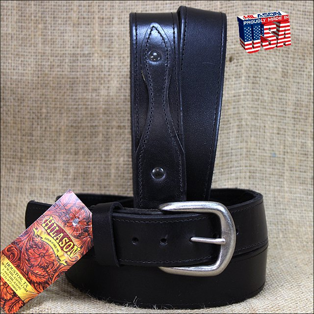 56IN. BLACK 1.5in LEATHER RANGER BELT CLASSIC 3 PIECE STYLING MADE IN USA