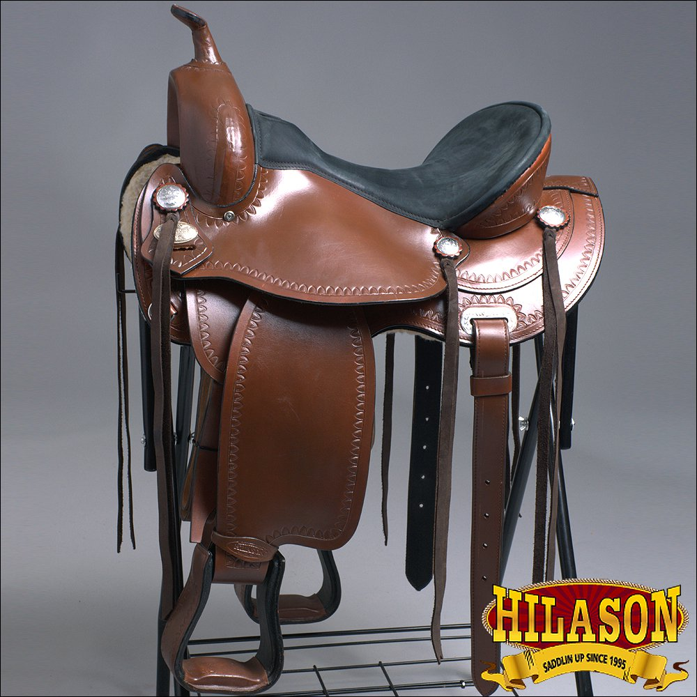 TO917F- HILASON ANTIQUE BROWN TREELESS WESTERN TRAIL BARREL RACING SADDLE 16""