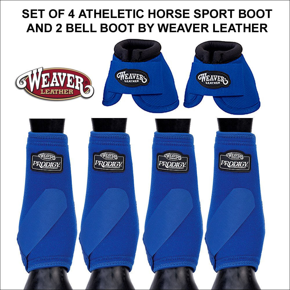 BLUE MEDIUM WEAVER PRODIGY ATHLETIC HORSE LEG FRONT REAR BOOTS 4 PACK 2 BELL