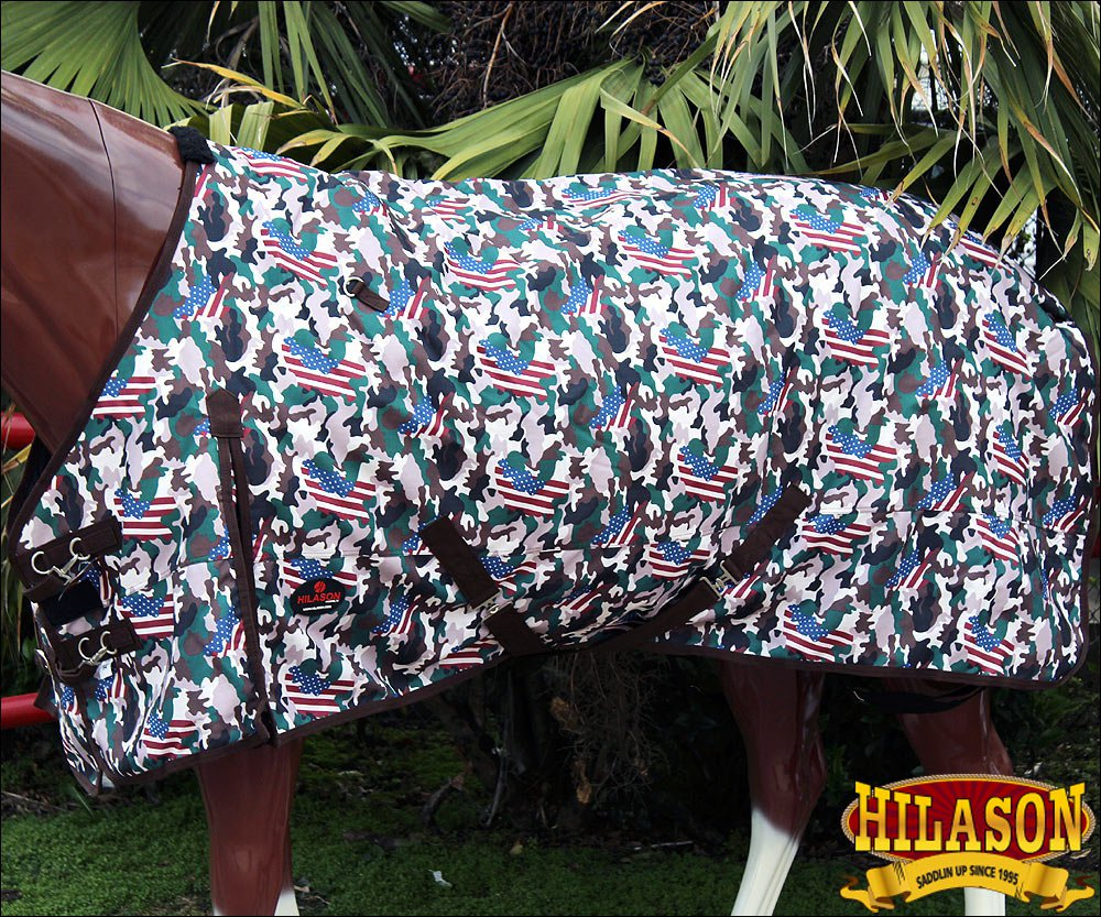 """76"""" HILASON 1200D WINTER WATERPROOF TURNOUT HORSE BLANKET USA FLAG CAMOUFLAGE"""