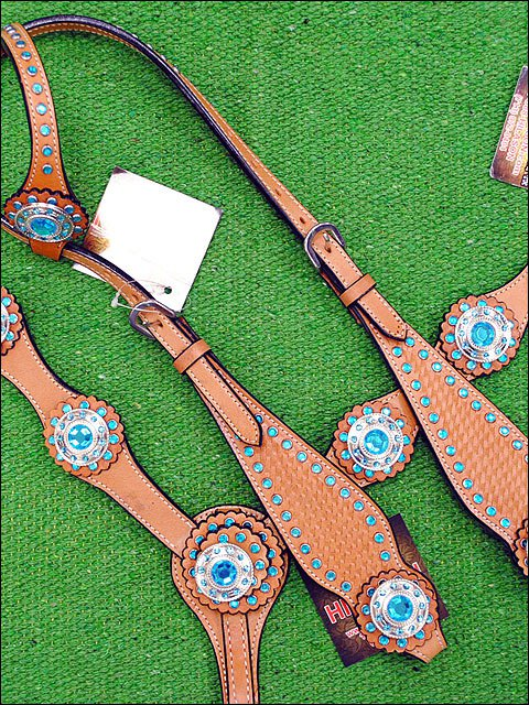 HILASON WESTERN LEATHER HORSE ONE EAR BRIDLE HEADSTALL BREAST COLLAR BLUE CONCHO